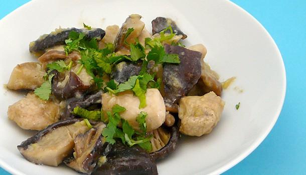 Poulet mijoté aux shiitakés