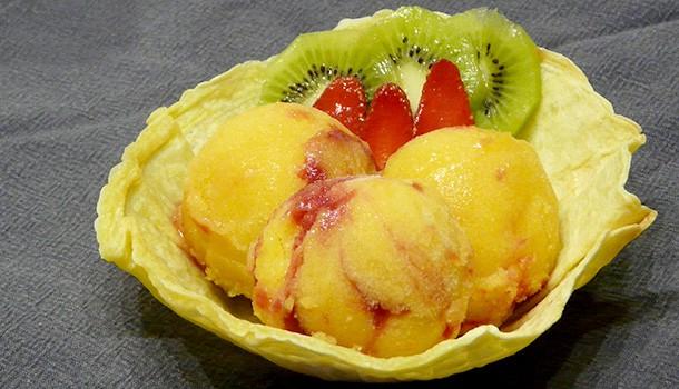 Sorbet mangue framboises et coupe coco