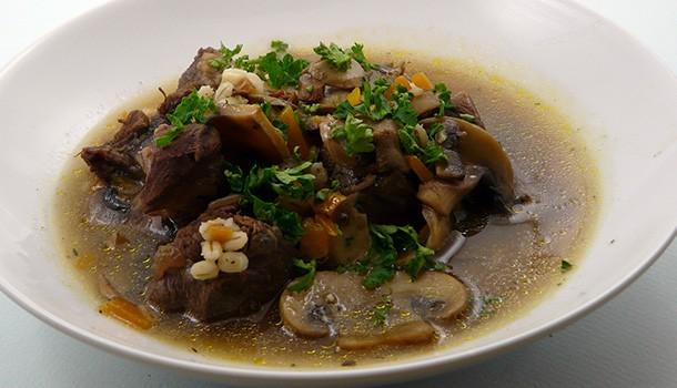 Soupe boeuf orge champignons