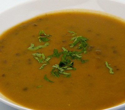 Soupe de potiron et lentilles