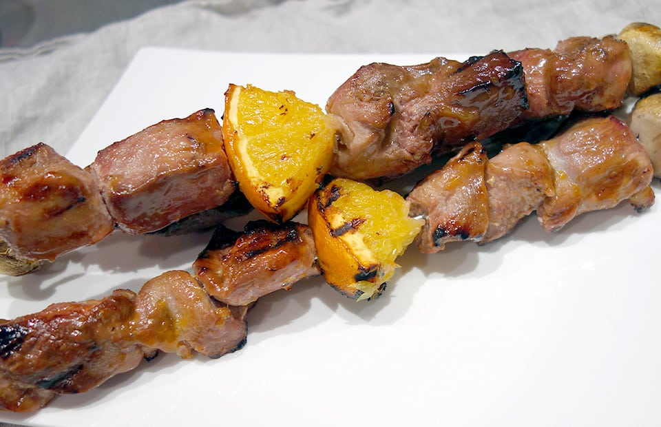 Brochettes de canard orange gingembre
