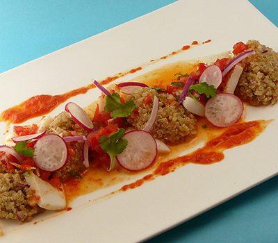 Encornets aux poivrons et quinoa