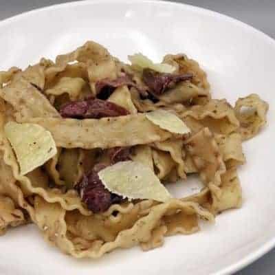 Pâtes au chianti et pancetta