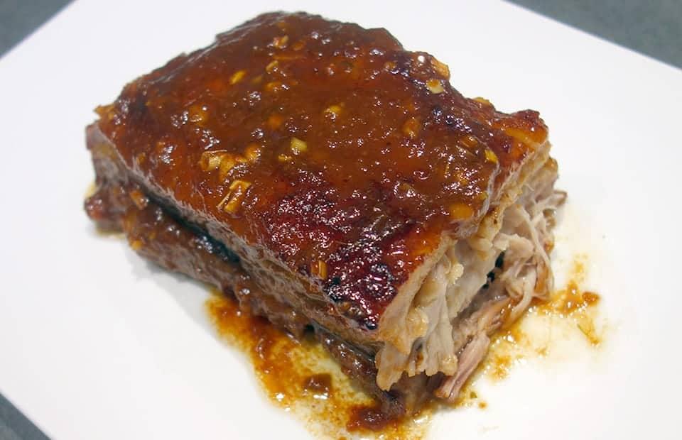 Poitrine de porc confite