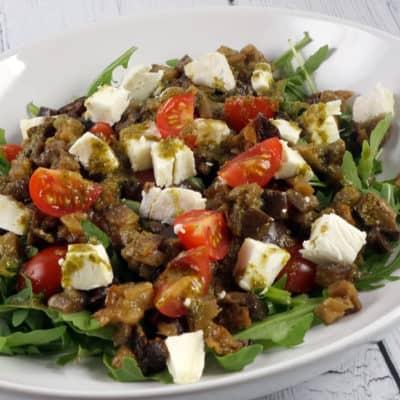 Salade tiède aubergines chèvre