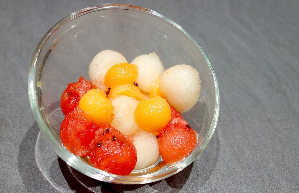 Salade de melons et pastèque