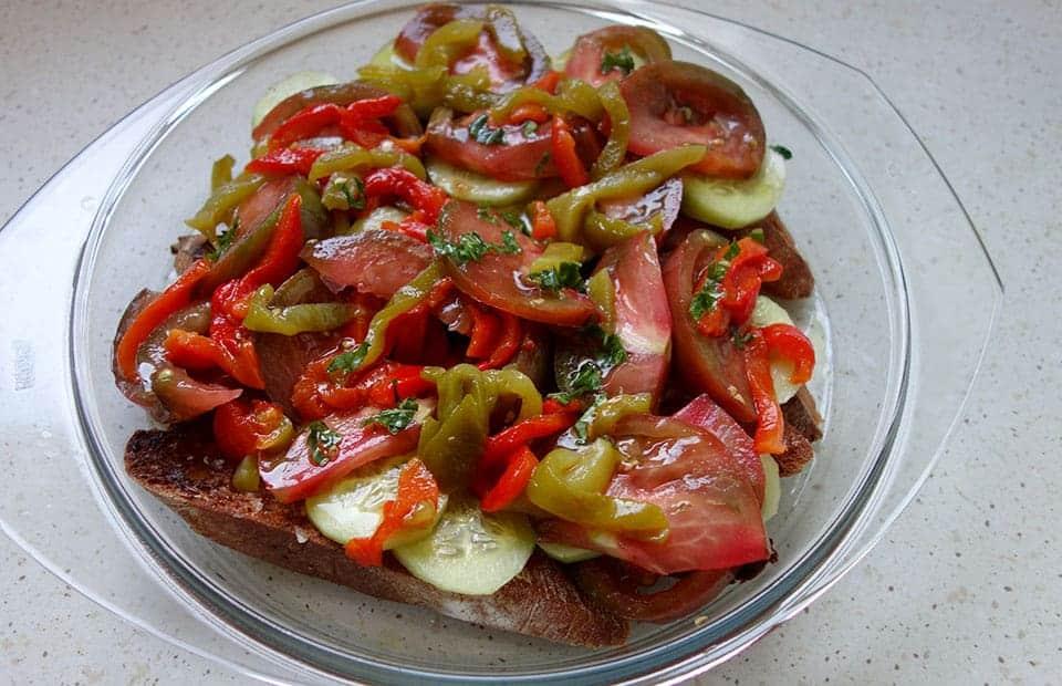 Salade légumes grillés et pain