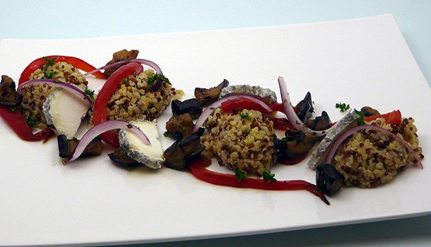 Salade quinoa chèvre et aubergine