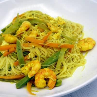 Vermicelles riz crevettes curry
